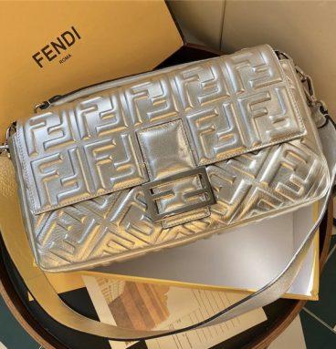 FEND Silver Baguette Shoulder Bag
