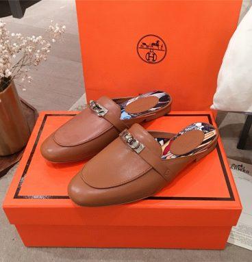Hermes Kelly Buckle Half Slip Shoes