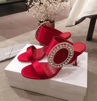 manolo blahnik sandals heels red