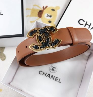 Chanel Leather Belt Buckle 30mm brown