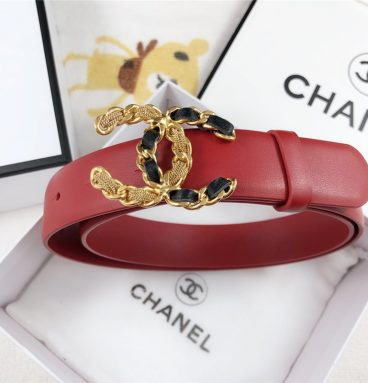 Chanel Leather Belt Buckle 30mm red
