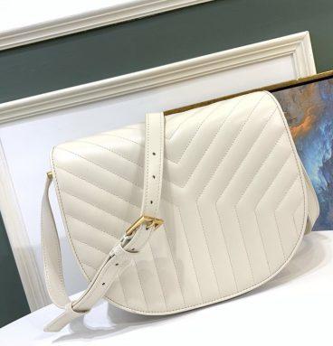 ysl leather shoulder bag white