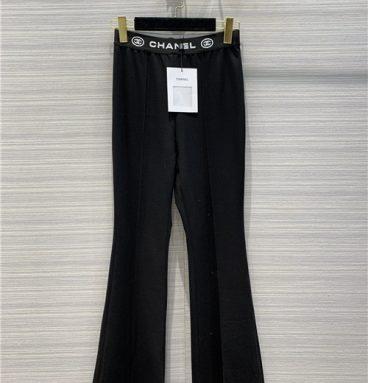 chanel elastic logo black pants