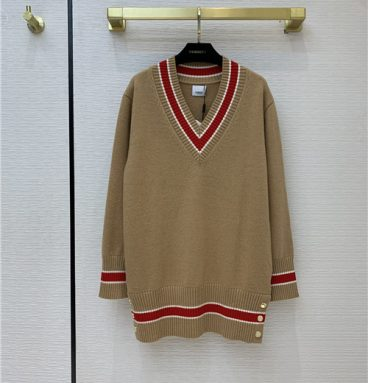 burberry Brown Reese V-Neck Sweater
