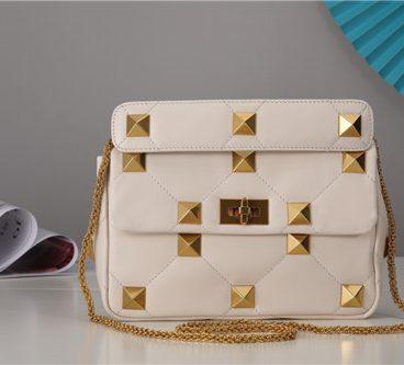 valentino roma stud bag white