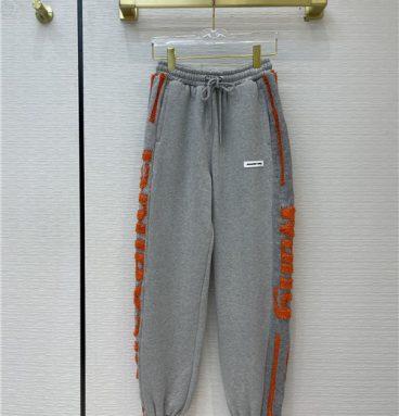 alexander wang logo embroidered velvet pants