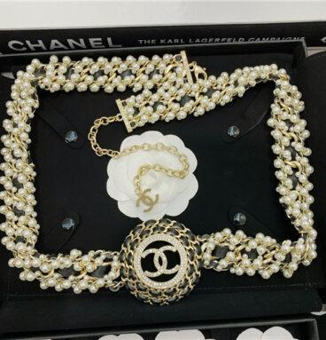 chanel pearl diamond leather belt
