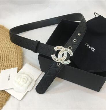 chanel logo buckle belt