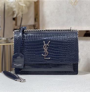 ysl crocodile leather shoulder bag