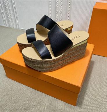 chloe platform wedge slippers
