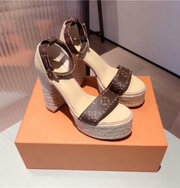 louis vuitton lv block heel sandals