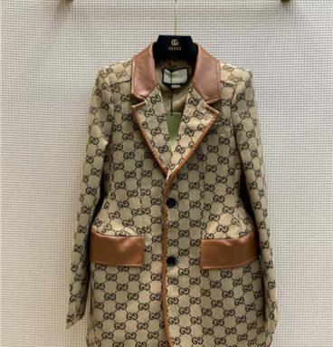 gucci stitching sheepskin coat