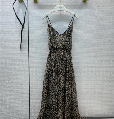 dior leopard print long skirt