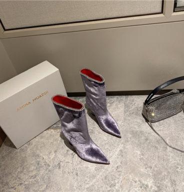 amina muaddi sexy velvet short boots