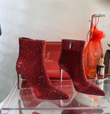 Rene Caovilla drilled pointed high heel booties