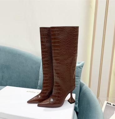 amina muaddi crocodile print boots