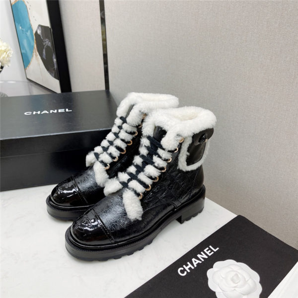 chanel motorcycle boots wool short boots