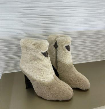 louis vuitton lv rabbit fur ankle boots