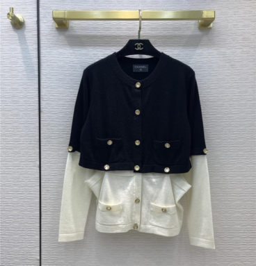 chanel black and white cashmere knitted cardigan
